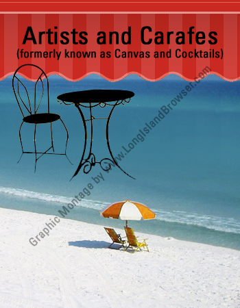 Beach and umbrella scene party painting class for Craft party long island
