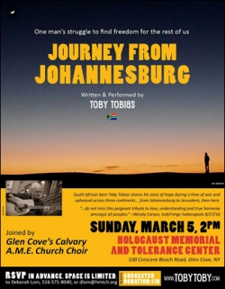 Long Island Events March       Fairs  Fundraisers  Things to do at     Long Island Browser Journey From Johannesburg Music Performance by Toby Tobias at Holocaust Memorial and Tolerance Center of Nassau County on Long Island  New York